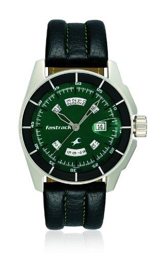 Fastrack Black Magic Analog Green Dial Mens Watch - NE3089SL03