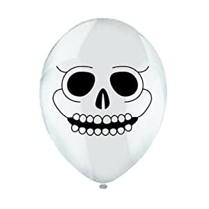 Halloween Skull Print White Latex Balloons Pack Of 6 from Party Bags 2 Go