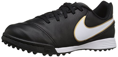 Nike Jr Tiempo Legend Vi Tf Scarpe da calcio allenamento, Unisex bambini, Multicolore (Black/White-Metallic Gold), 28, Multicolore (Negro / Blanco / Dorado (Black / White-Metallic Gold)), 32
