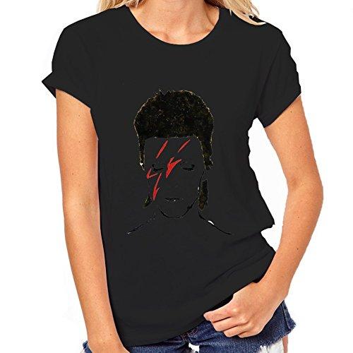 David Bowie minimalismo-Maglietta classica da donna nero Medium