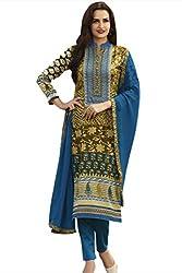 Naaidaakho Royal Blue And Green Cotton Dress Material