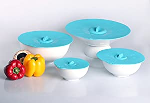 "Iconic Silicone Suction Lids and Bowl Covers for Cooking, Food Storage and Reheating: Set of 4 Matching Sizes (XL 11.8"", L 9.4"", M 7.8"", S 5.5"") for Pots, Pans, Mugs, Coffee Cups and Containers; Turquoise, Premium Silicone, Reusable, BPA-Free, Non-Toxic"