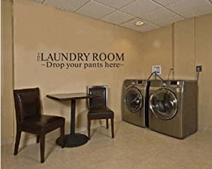 OneHouse The Laundry Room Drop Your Pants Here Quote Wall Sticker Sign for Laundry Room Wall Decal from OneHouse