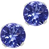 1.25 Ct Round Genuine Tanzanite .925 Sterling Silver Stud Earrings 5MM