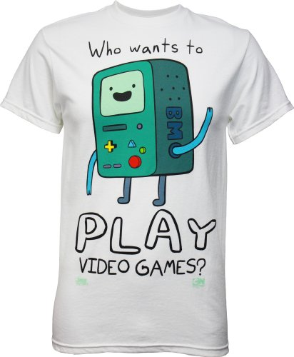Adventure Time BMO Who Wants to Play Video Games? Men's T-Shirt, Small