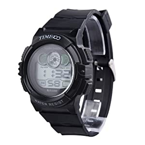 TIME100 Multifunction PU Strap Black Bezel Sport Electronic Watch #W40024M.02A