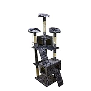 5'11 FEET, EXTRA LARGE CAT SCRATCHING POST TREE SCRATCHER BED ACTIVITY CENTRES CLIMBING TOY, CAT TOWER, GREY WITH PAWS - NO DELIVERY TO N. IRELAND, C. ISLANDS - IV, KA, KW, PA, PH, ZE, HS, IM, TR - POST CODES AREAS