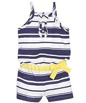 Nautica Baby-Girls Infant Stripe Ribbon Knit Romper, Medium Navy, 12 Months