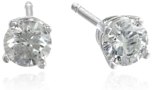 14K White Gold Round Diamond (1/2 Cttw, H-I Color, I1-I2 Clarity) Stud Earrings