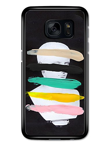 Hipster Classic Art Sculpture Bust with Coloured Paint Strokes on Black custodia per Samsung Galaxy S7