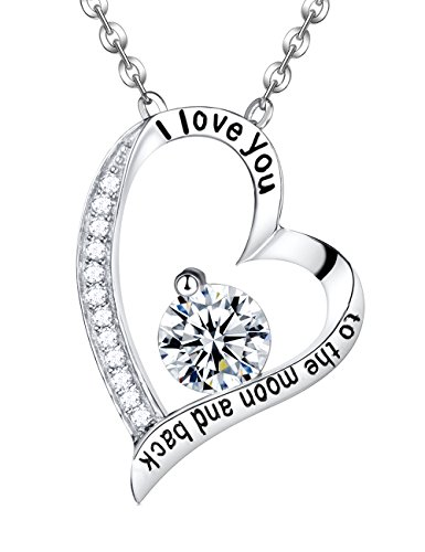Elda & Co. Heart Necklace I love You to The Moon and Back Engraved Letter Necklace - Fine Sterling Silver Necklace Pendant Enhancer - Simulated Diamond Necklace 18K White Gold Plated-Women's Anniversary Jewelry Birthday Gifts Present for Women