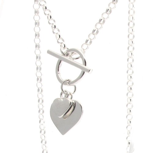 Sterling Silver Fine Belcher Chain with T-bar and Hearts 41cm / 16