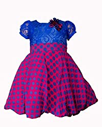 Softouch Girls' Frock (Blue Pink_5-6 Years)