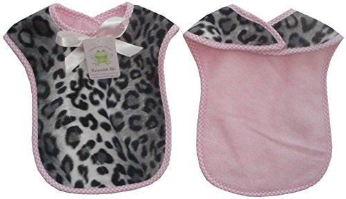 Reversible Bib In Snow Leopard In Pink Fleece Pink Gingham Check Trim front-201598