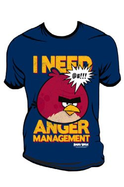 Video Game Shirts - Angry Birds T-Shirt I Need Anger Management Size XL