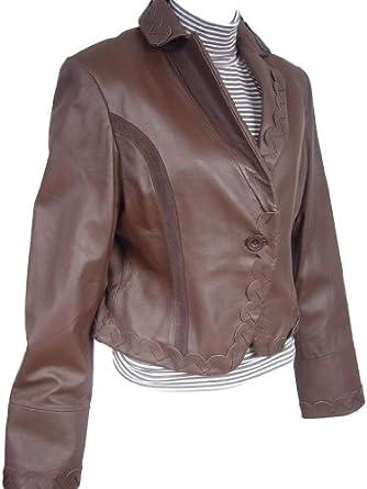 Paccilo FREE tailoring Women 4043 Plus Size Lambskin Leather Short Blazer