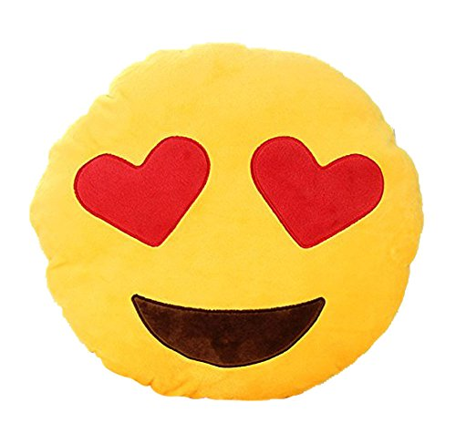 Leegoal Emoji Smiley Emoticon Yellow Round Cushion Pillow Stuffed Plush Soft Toy - 1