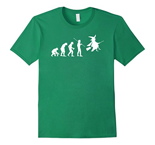 Men's Evolution Of Witch Flying Broom Halloween Costume Tee Shirt Medium Kelly Green (Wicked Witch Of The West Broom)