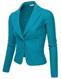 9XIS Womens Boyfriend Blazer, Teal, Large