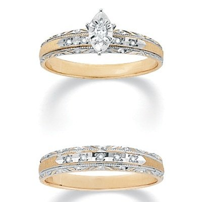 PalmBeach Jewelry Tutone 10k Gold 2-Piece Marquise-Set and Round Diamond Wedding Band Ring Set