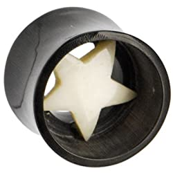 "5/8"" Gauge STAR Buffalo Horn Bone Plug"