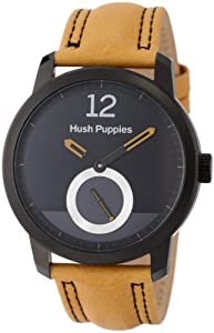 Hush Puppies Freestyle Men's Automatic Watch with Black Dial Analogue Display and Yellow Leather Strap HP.3780M.2510
