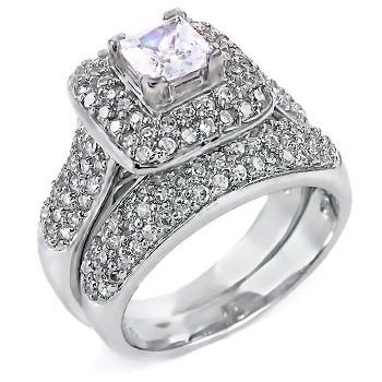 Adriannis: Womens 2.55Ct Russian Ice On Fire Cz 2 Pc Bridal Wedding Ring Set, 3097 Sz 8.5, 925 Silver