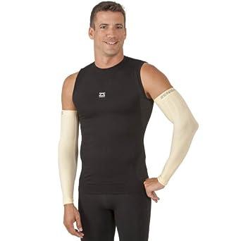 Zensah Compression Arm Sleeves - Golf Arm Sleeves, Baseball Arm Sleeves, Sun Protection Arm Sleeves (pair), Beige, Large/X-Large
