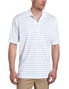 Greg Norman Collection Men's ML75 Textured Stripe Polo, White/Cloud, Small
