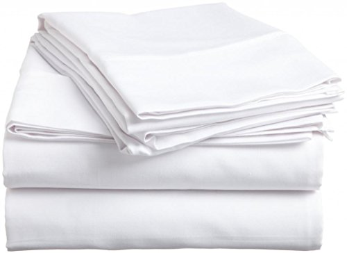 White Solid 100%Pima Cotton Cotton 500 Thread Count Gokul Linen Full-Xl 54X80 Inch Size Bed Sheet Set 6Pcs Pocket Depth 28 Inch Drop