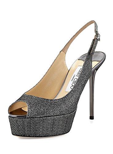 Jimmy Choo Silver Glitter Platform Slingback Shoes 6
