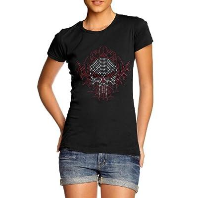 Women's Bling Skull Rhinestone Crystal Diamante T Shirt Ladies Adults Sizes 10-16