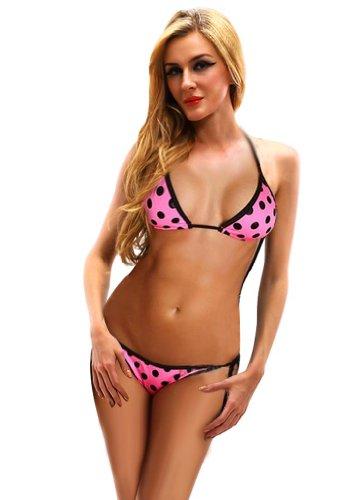 Amour-Hot Sexy Polka Dots Purple Halter Trim Bikini Top + Bottom Swimwear