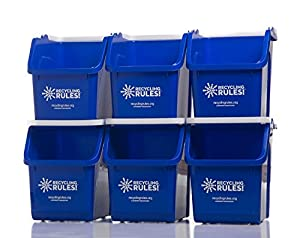 Amazon Com Blue Stackable Recycling Bin Container With