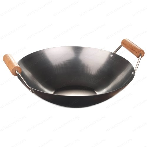 """New Star International 14"""" Carbon Steel Flat Bottom Wok With Double Handle"""