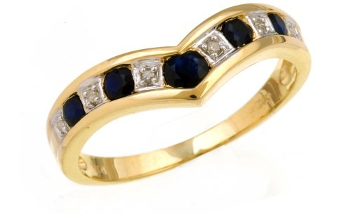 9ct Yellow Gold Ladies' Diamond and Sapphire Ring Size H