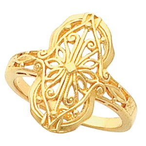 14K Yellow Gold Filigree and Vintage Ring Size: 12