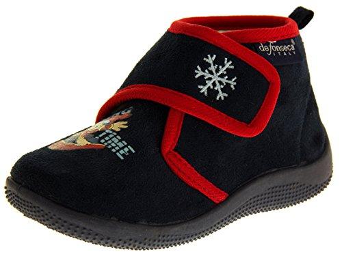 De Fonseca Bambino Blu Marino Fissaggio In Velcro Pantofole Stivali EU 20