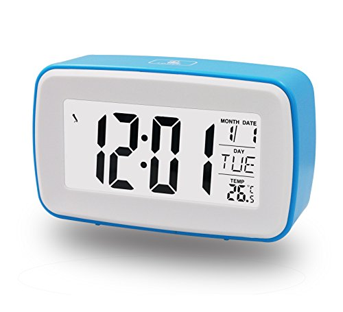 ZHPUAT DIY Morning Alarm Clock, Snooze, Own Ringing, Date & Temperature [Celsius & Fahrenheit] Display, Countdown Counter, Low Light Sensor Technology,Light On Backlight When Detect Low Light, Soft Light That Won't Disturb The Sleeping, Progressively