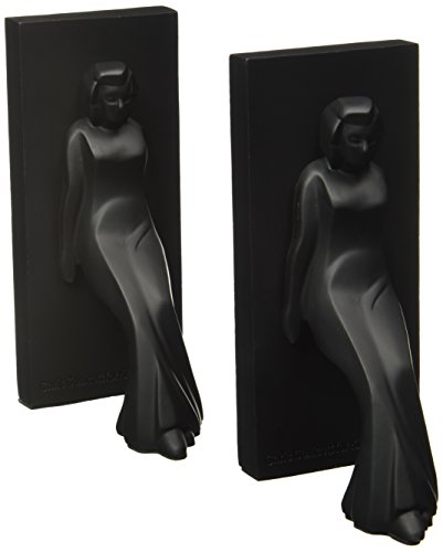 Kikkerland Pair of Leaning Ladies Bookends, Black