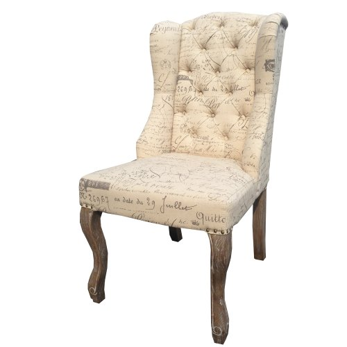 Antique Style Cream Linen Chair Upholstered with Script Fabric