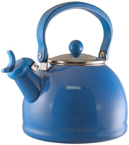 Reston Lloyd Calypso Basics Whistling Teakettle with Glass Lid, Azure (Enamel Tea Kettle Whistling compare prices)