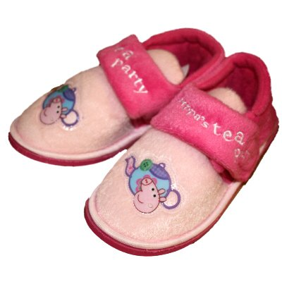 New Official Girls PEPPA PIG Tea Party Cartoon Character Velcro Strap Slipper. To Fit UK Child Sizes 5 - 6 - 7 - 8 - 9 - 10