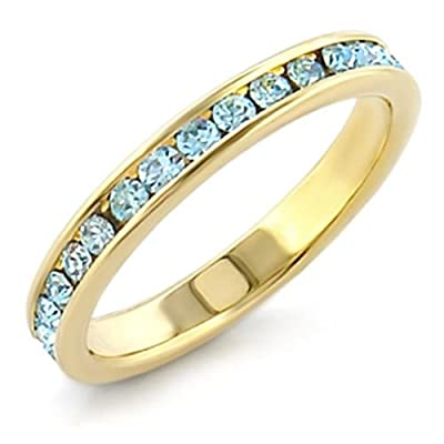 Women's Channel Set Swarovski Aqua Blue Crystal Ring. Outstanding Quality Eternity band. 24k Gold Electroplated.