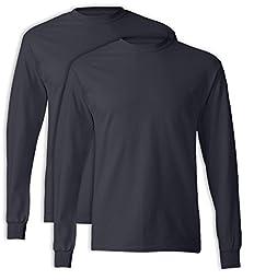 Hanes, 5586, Men\'s, Tagless Long Sleeve Tee, Deep Navy (Pack of 2), Large