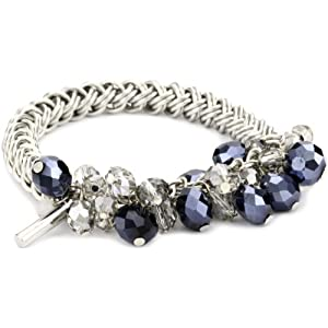 "Kenneth Cole New York ""Glam"" Navy Faceted Stone Stretch Bracelet"