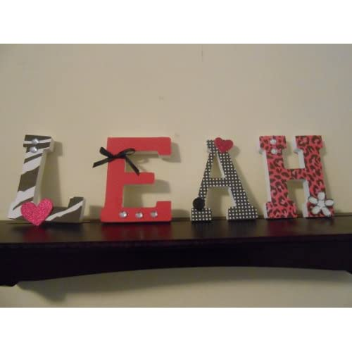 4 black and pink wood letters baby nursery for Baby room decoration letters