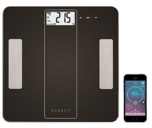 EXZACT - Bilancia Smart per l'Analisi Corporea/ Pesapersone Digitale / Elettronica Bilancia da bagno - Bluetooth 4.0 per Smartphone (iPhone iOS) - grasso corporeo / idratazione / muscoli / ossa - 180 kg / 400 lb
