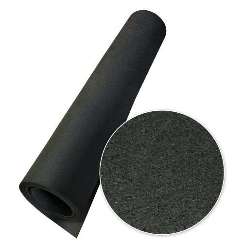 Rubber-Cal Elephant Bark Rubber Flooring - 1/4 inch x 4ft. x 7.5ft. Wide Floor Mat - Black