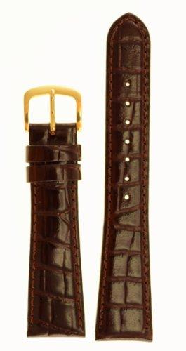 Men's Alligator Grain Watchband - Color Brown Size: 18mm Long Watch Strap